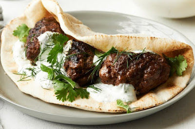 Spiced Middle Eastern Lamb Patties With Pita And Yogurt Recipe