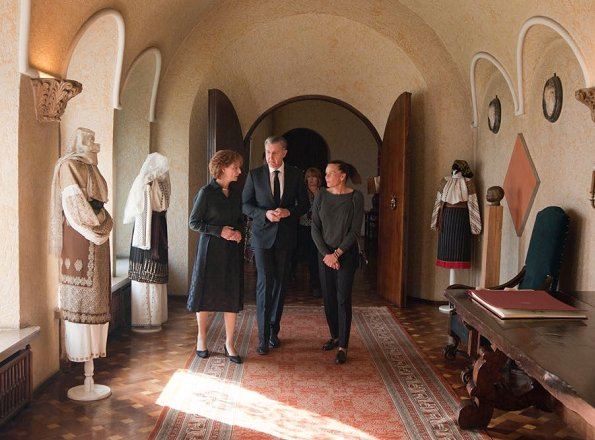 Princess Stephanie of Monaco met with Princess Margareta and Prince Radu of Romania at Elisabeta Palace, Bucharest
