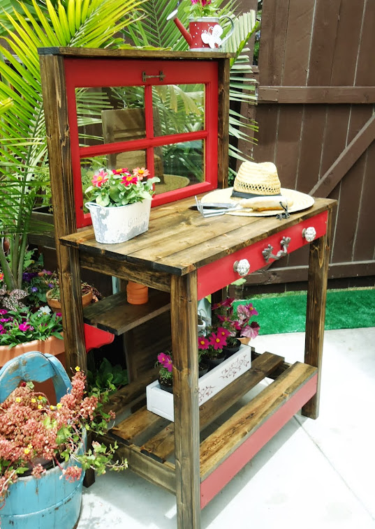 Charming Vintage Window Table/Potting Bench - SOLD