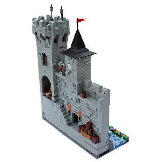 Woodstock Castle Lego MOC Side Section with Clockface