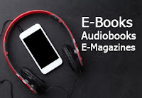 red headphones with iPod Touch and words: E-Books Audiobooks E-Magazines