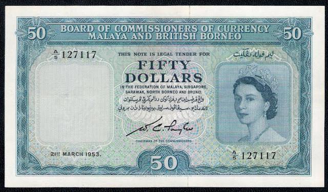 Malaya British Borneo currency banknotes 50 Dollars note Queen Elizabeth