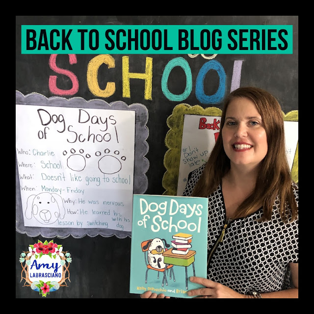 Click here to find ideas for asking questions about key details.  Included are ideas and  an anchor chart for the very engaging book Dog Days of School.  Get your back to school plans for standard RL.2.1 ready.   Perfect for elementary classrooms and homeschool children.  {kindergarten, first, second, k, 1st, 2nd}