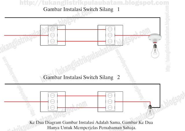 Cara Memasang Switch Silang-Dua Saklar Satu Lampu