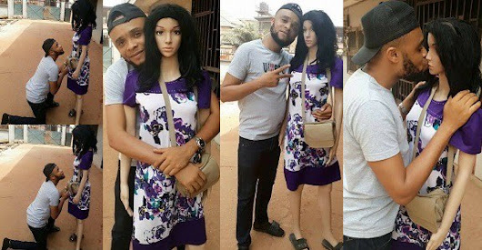 Nigerian man kneels to propose to his mannequin sex doll