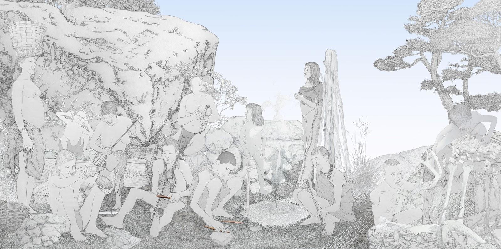 tecnologia litica. mujeres prehistoria. dibujo.