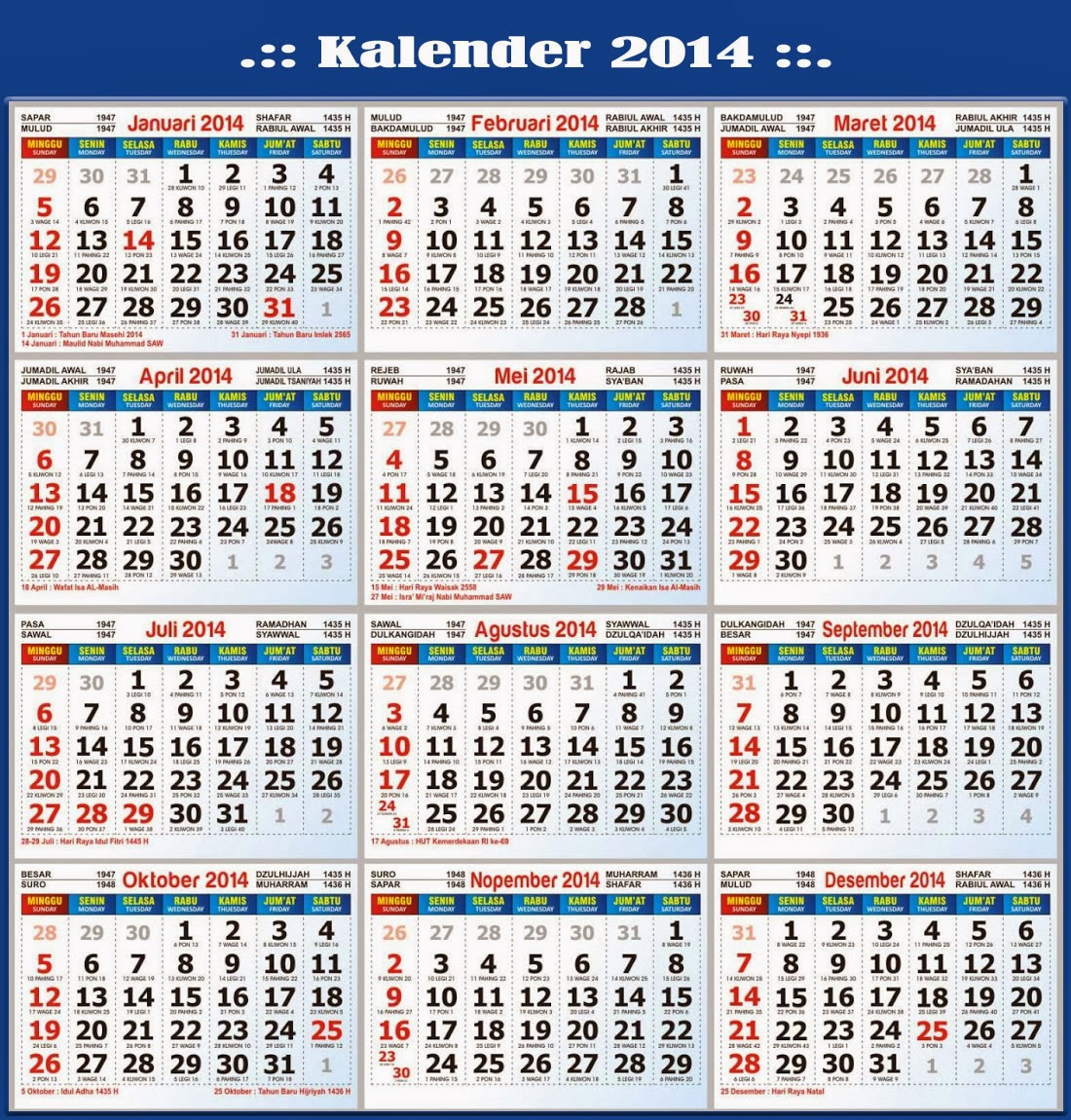 Kalender 2014 beserta Hari Libur Nasional dan Cuti Bersama