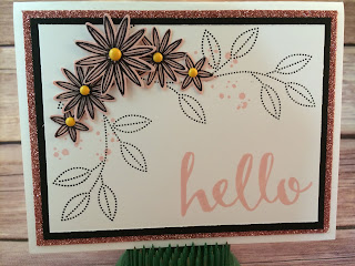 This pink and black hello card uses Stampin' Up!'s: Hello Sale a Bration stamp set, Grateful Bunch stamp set, Blossom Bunch Punch, Clear Wink of Stella (on the blushing bride flowers), Blushing Bride Glimmer Paper, and the It's My Party Enamel Dots!  www.stampwithjennifer.blogspot.com