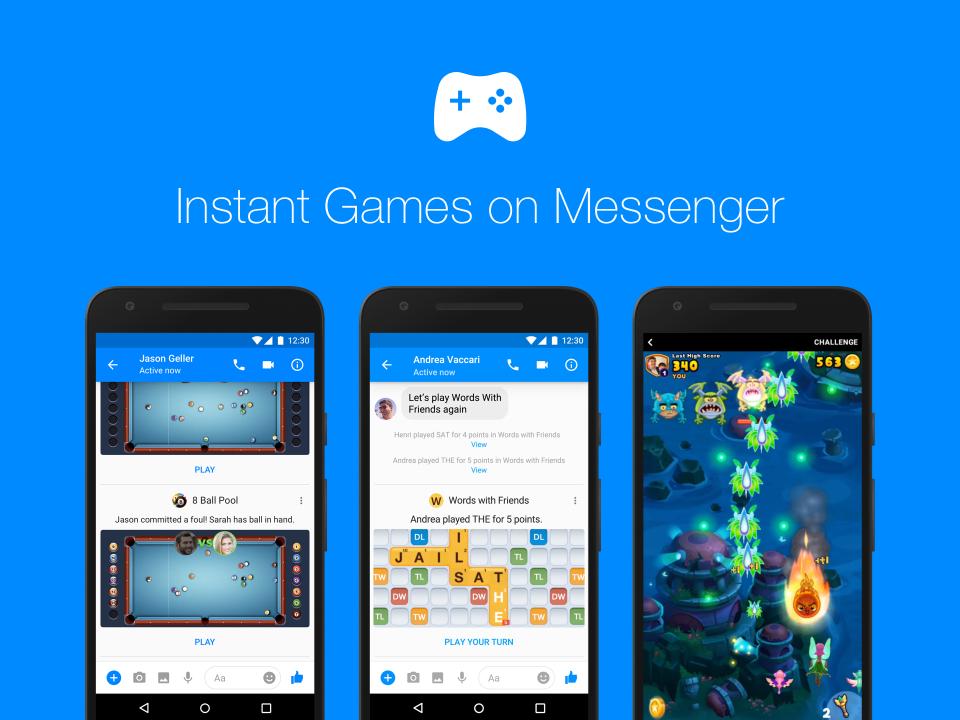 Facebook Messenger's العاب فوريه متوفره فى جميع انحاء العالم بمميزات جديده مضافه