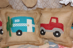 rustic camper and truck pillow