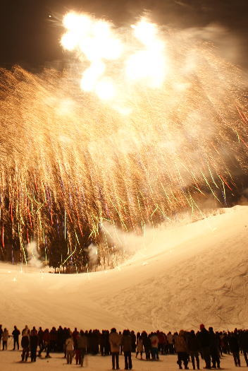 Snow Festival with Fire Works at Nozawa Onsen Ski Trail, Nagano Pref.