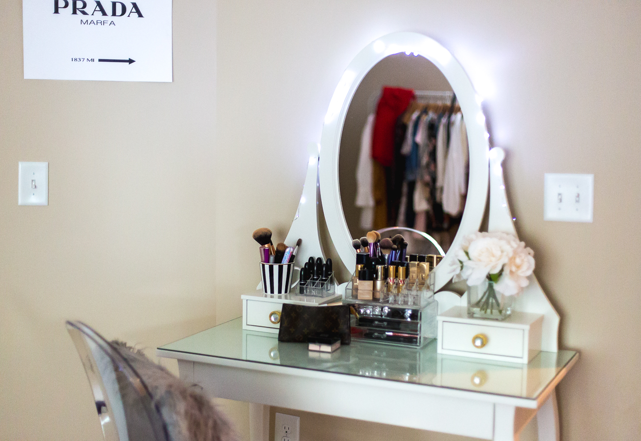 vanity, beauty space, makeup lover, prada marfa, ikea vanity