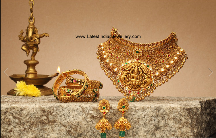 Designer Traditional Antique Gold Temple Jewellery Choker