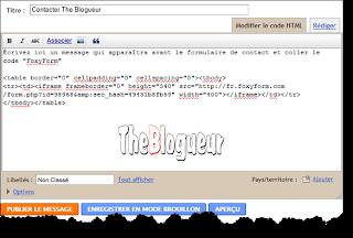formulaire de contact gratuit pour votre site ou blog the blogueur. Black Bedroom Furniture Sets. Home Design Ideas