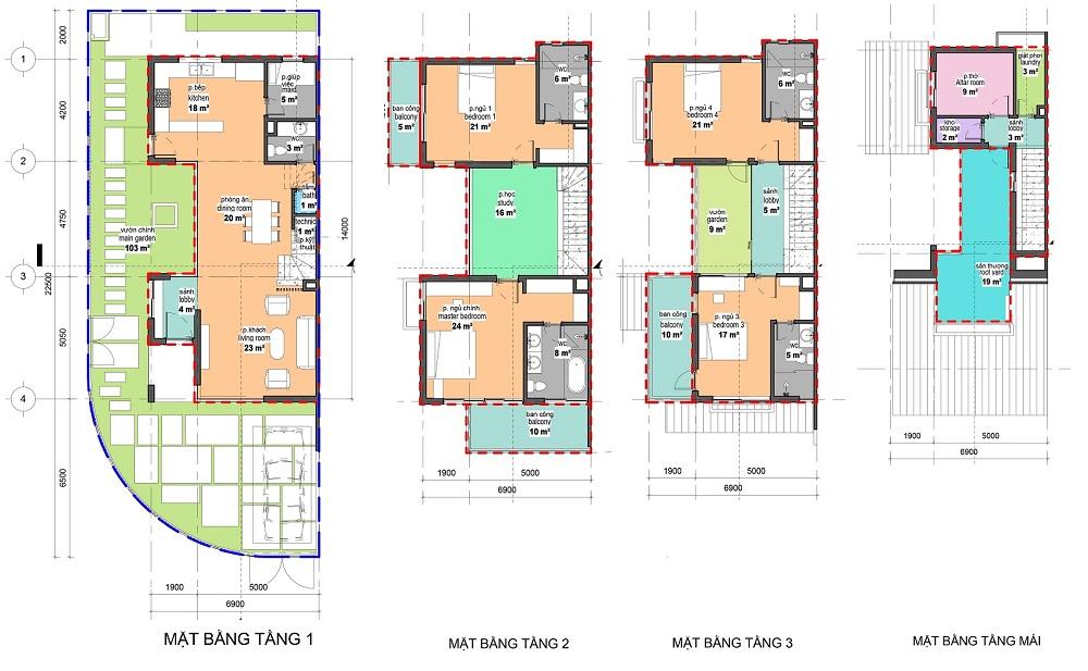 Thiết kế loại 7m x 22,5 m căn góc SD5 Gamuda Gardens