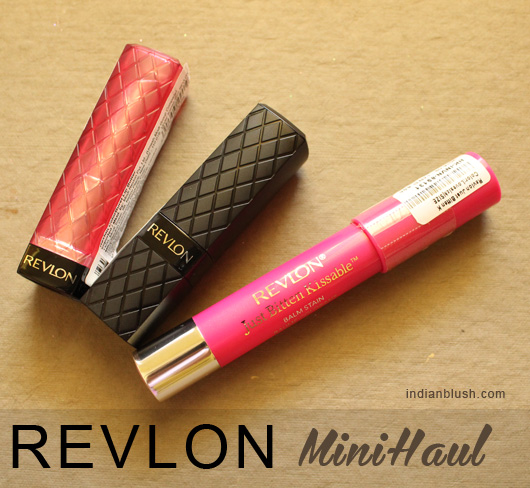 Revlon Mini Haul  ColorBurst Lip Butter Raspberry Pie, ColorBurst Lipstick 30 Fuchsia &  Just Bitten Kissable Balm Stain Love Sick Review Swatches