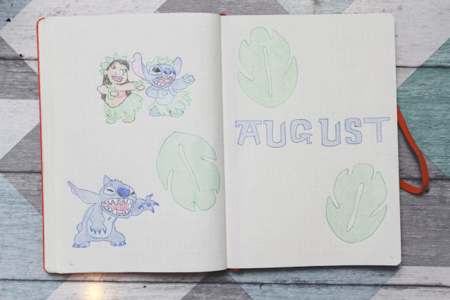 Lilo & Stitch bullet journal monthly spreads