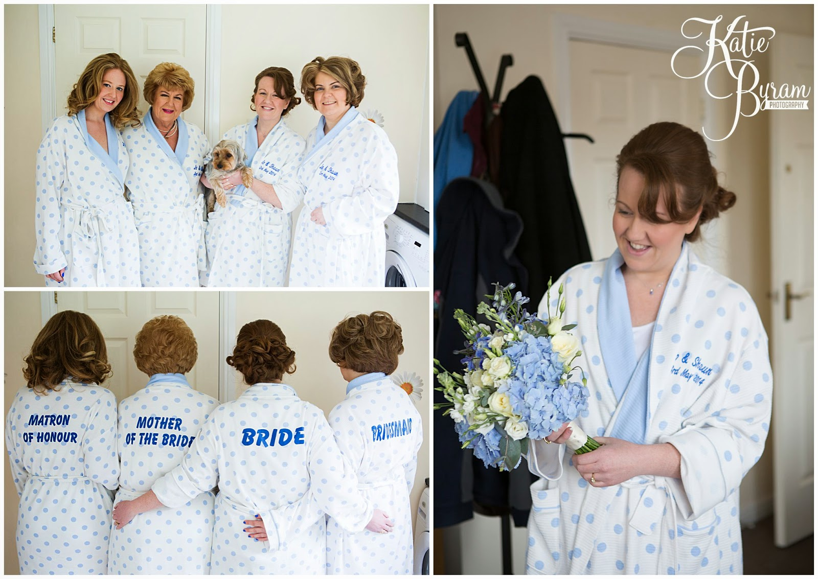 wedding dressing gowns, personalised dressing gowns, bridesmaids bath robes, bridesmaids dressing gowns, minsteracres wedding, lord crewe arms wedding, dog at wedding, scoops and smiles, katie byram photography, ice cream van hire newcastle, newcastle wedding photography, relaxed wedding photography, quirky, 50