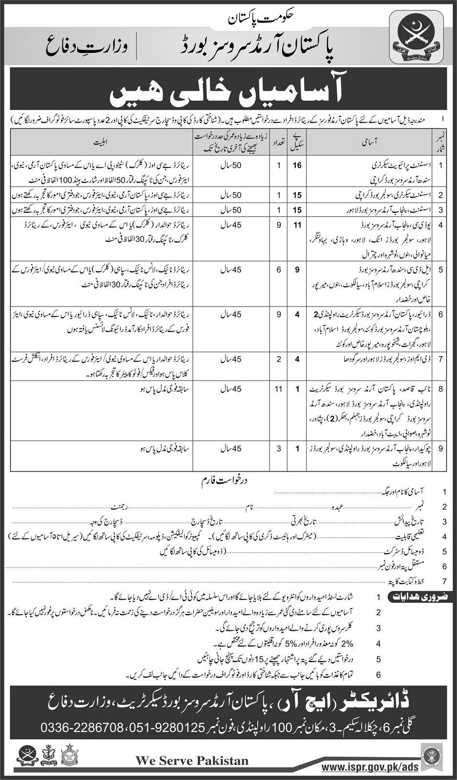 Jobs In PASB 2018 Pakistan Armed Services Board Application form Download