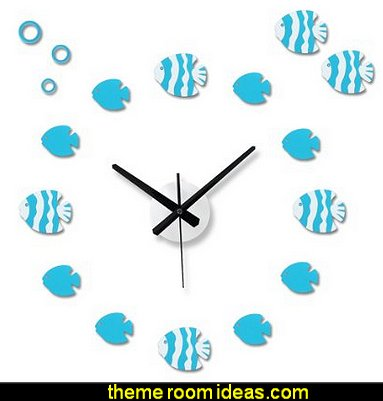 Tropical Fish Creative Antique DIY Self Adhesive Acrylic Living Room Decoration Digital Wall Clock Quartz 3D Home Décor Retro Art Watch Kid's Room Décor