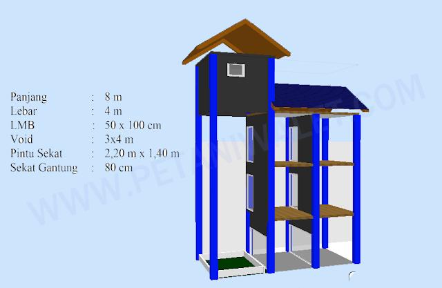 Desain Rumah/Gedung Walet Ukuran 4x8 m