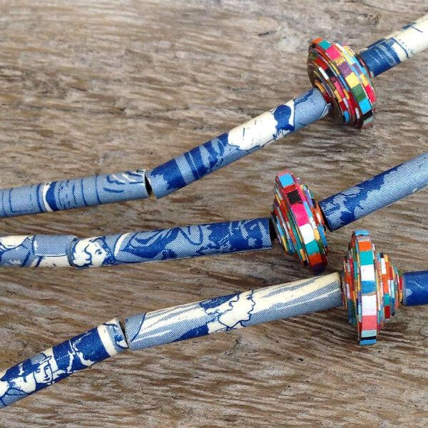 blue and white graphic print paper beads with hand painted striped beads on necklace