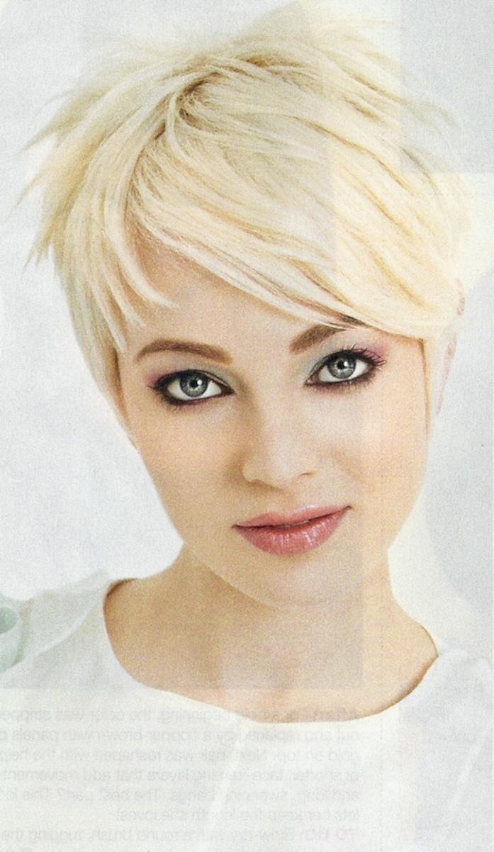 girl with short Cute hair blonde
