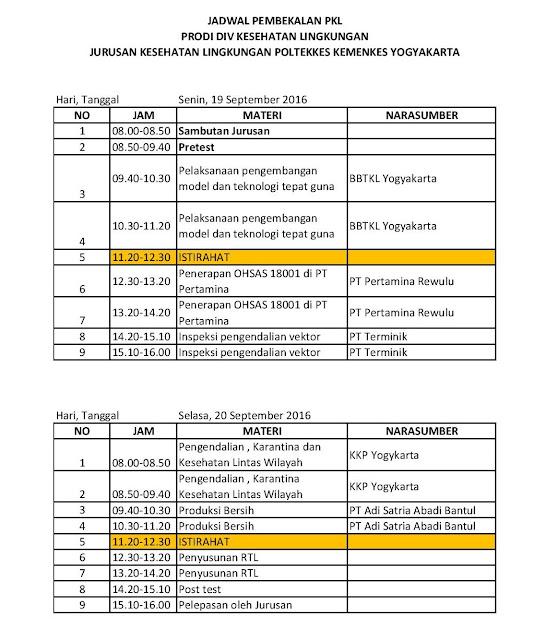 jadwal pembekalan PKL D4 Kesling