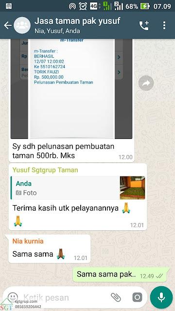 Jasa Pasang Rumput Gajah Mini Pak Yusuf di Bandung