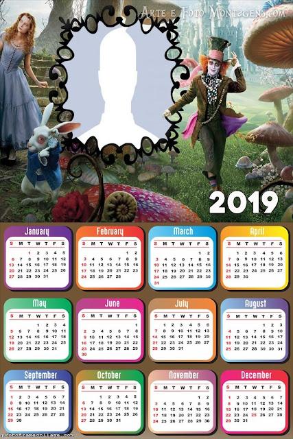Calendario 2019 de Alicia para Imprimir Gratis.