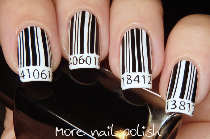 Price Check On This Black And White Mani Bar Code Nail Art More