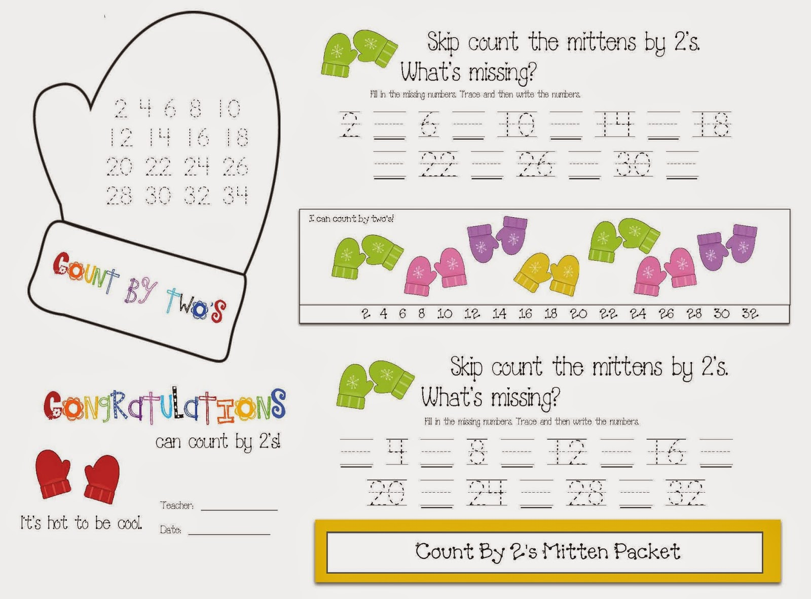 Classroom Freebies Skip Count By 2s Mitten Packet