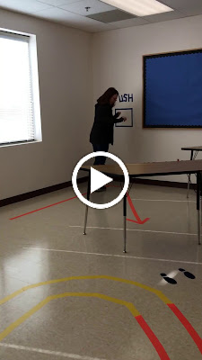 video of two women trying our a sensory break path in a school; Removing the Stumbling Block