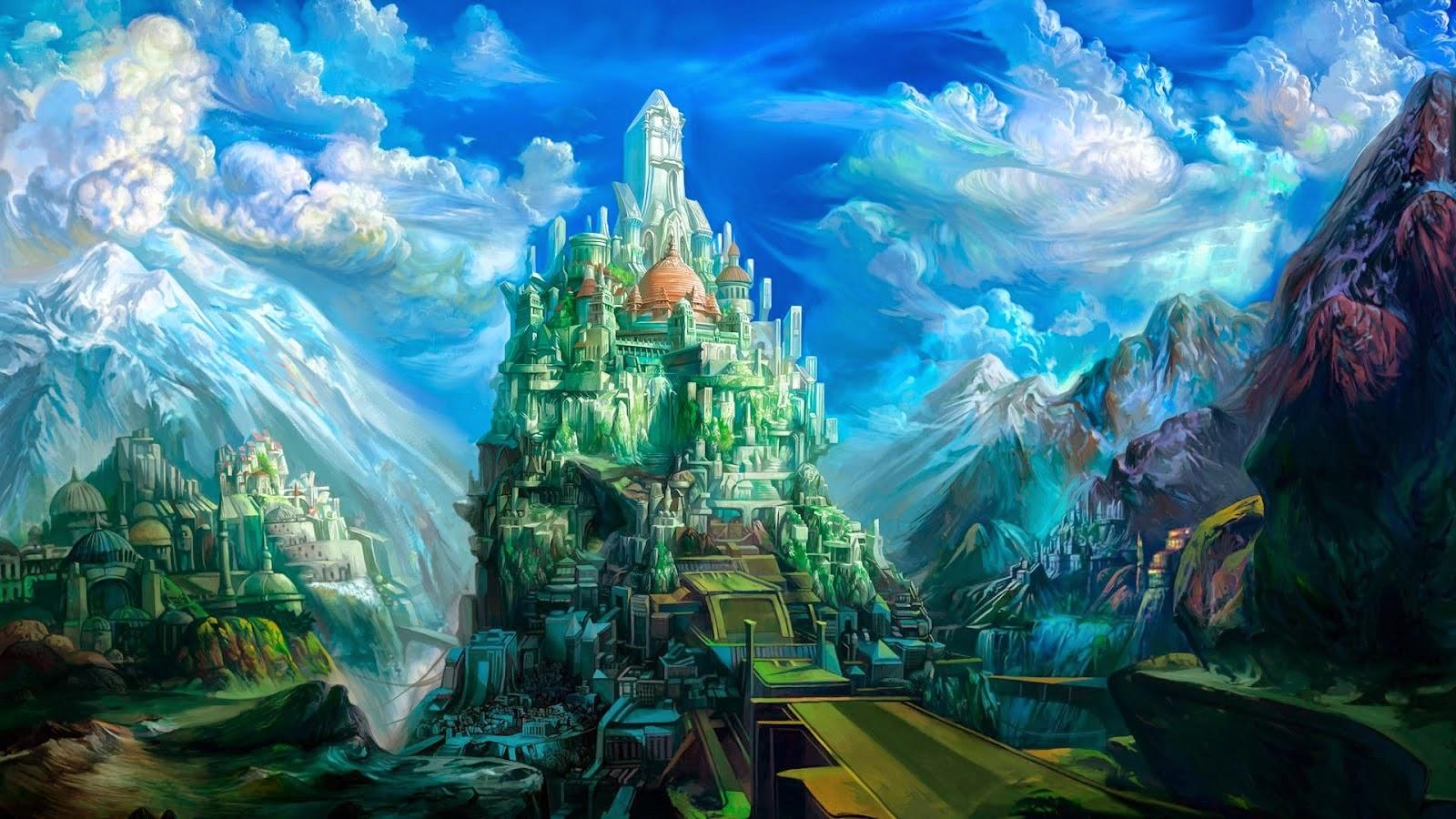 Water Wallpaper Hd Live Fantasie Huizen Op Rotsen Hd Wallpapers