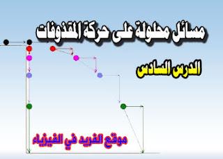 مسائل على حركة المقذوفات المنحينة ، أمثلة على حركة المقذوفات ، تمرين على حركة المقذوفات ، دروس المقذوفات ، فيزياء أول ثانوي ـ مصر ، فيزياء ثالث ثانوي ـ اليمن