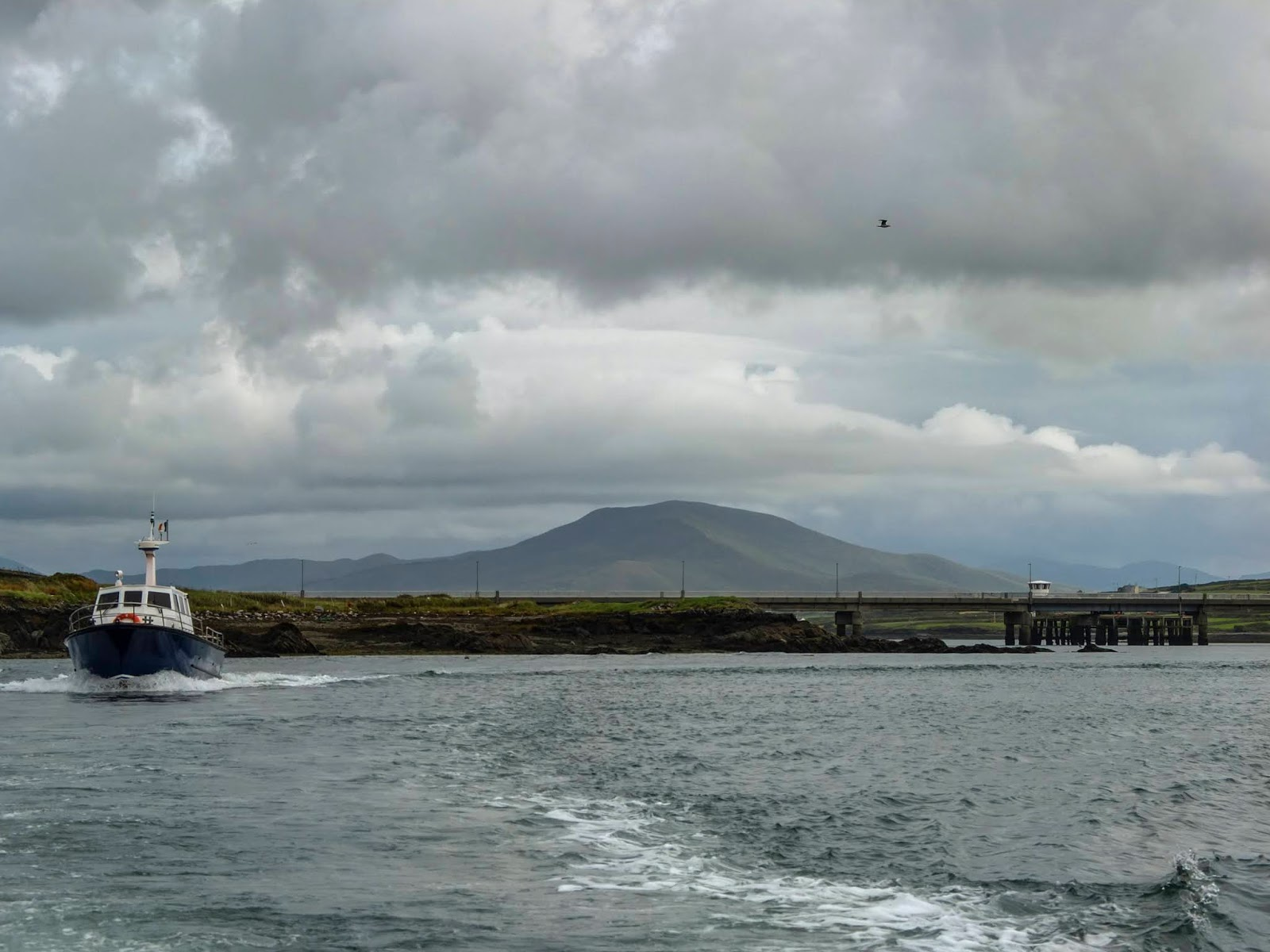 A blue and white boat sailing away from Portmagee Harbour in Co.Kerry.
