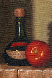 Oil painting of a small green Petite Liqueur bottle with a cork, beside a tomato.