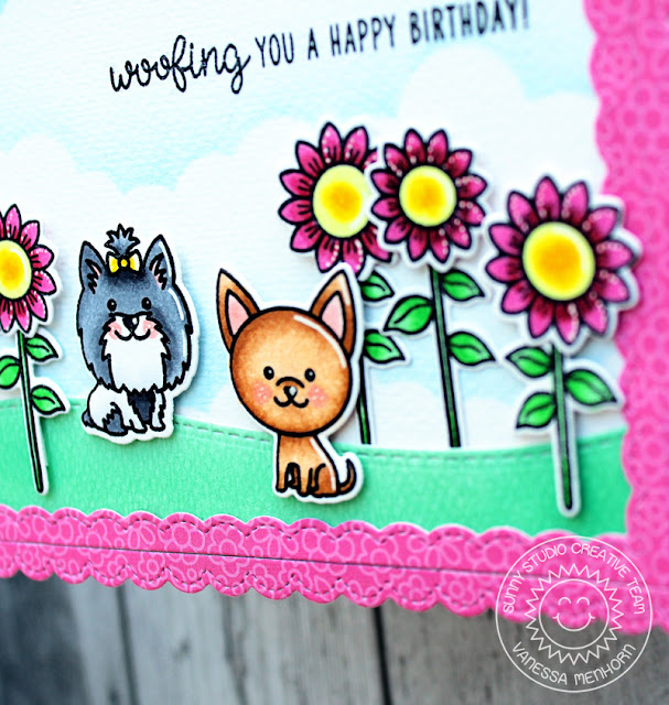 Sunny Studio Stamps: Puppy Dog Kisses Fancy Frames Dies Woodland Borders Dies Happy Birthday Card by Vanessa Menhorn