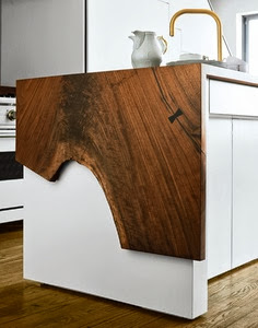 white cabinets, natural wood, waterfall counter