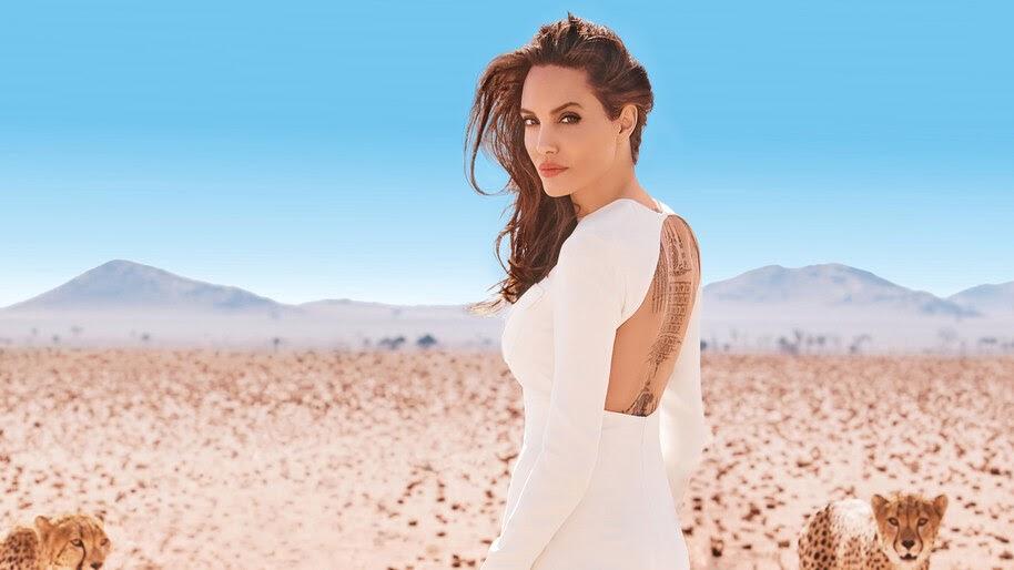 Angelina Jolie, Girl, Back, Tattoo, 4K, #4.1374