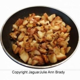 Ramp and Red Potatoes in frying pan