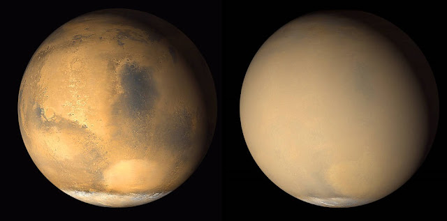 Two 2001 images from the Mars Orbiter Camera on NASA's Mars Global Surveyor orbiter show a dramatic change in the planet's appearance when haze raised by dust-storm activity in the south became globally distributed. The images were taken about a month apart. Credits: NASA/JPL-Caltech/MSSS