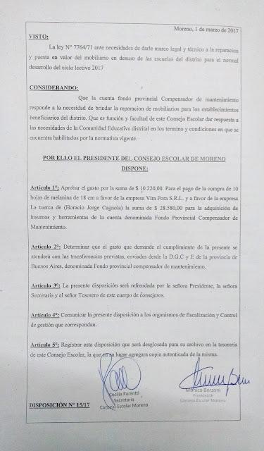 Disposición N° 15/17: Aprobacion del gasto a la firma Vira Pora S.R.L. y la empresa La Tuerca (de Horacio Jorge Cagnola).