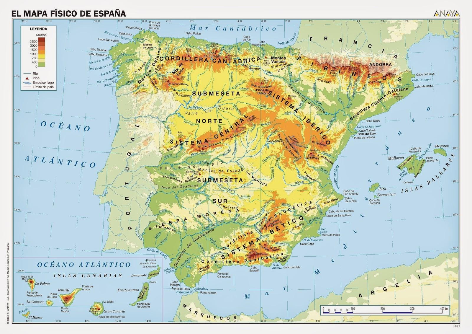 mapa fisico da peninsula iberica Mapa Físico Península Ibérica   GEOGRAFÍA: Recursos Online mapa fisico da peninsula iberica