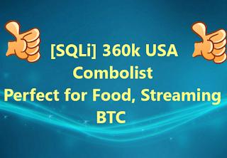 [SQLi] 360k USA Combolist | Perfect for Food, Streaming, BTC