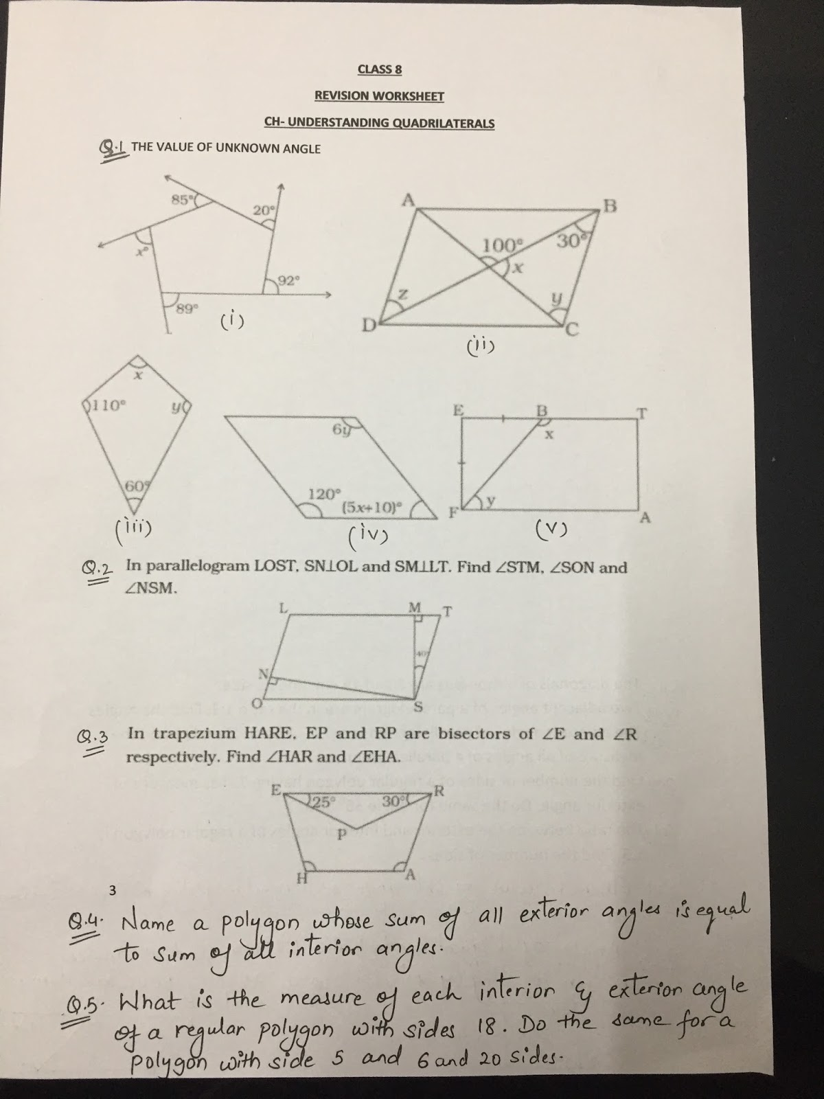 Quadrilaterals Worksheet With Answers   Printable Worksheets and Activities  for Teachers [ 1600 x 1200 Pixel ]