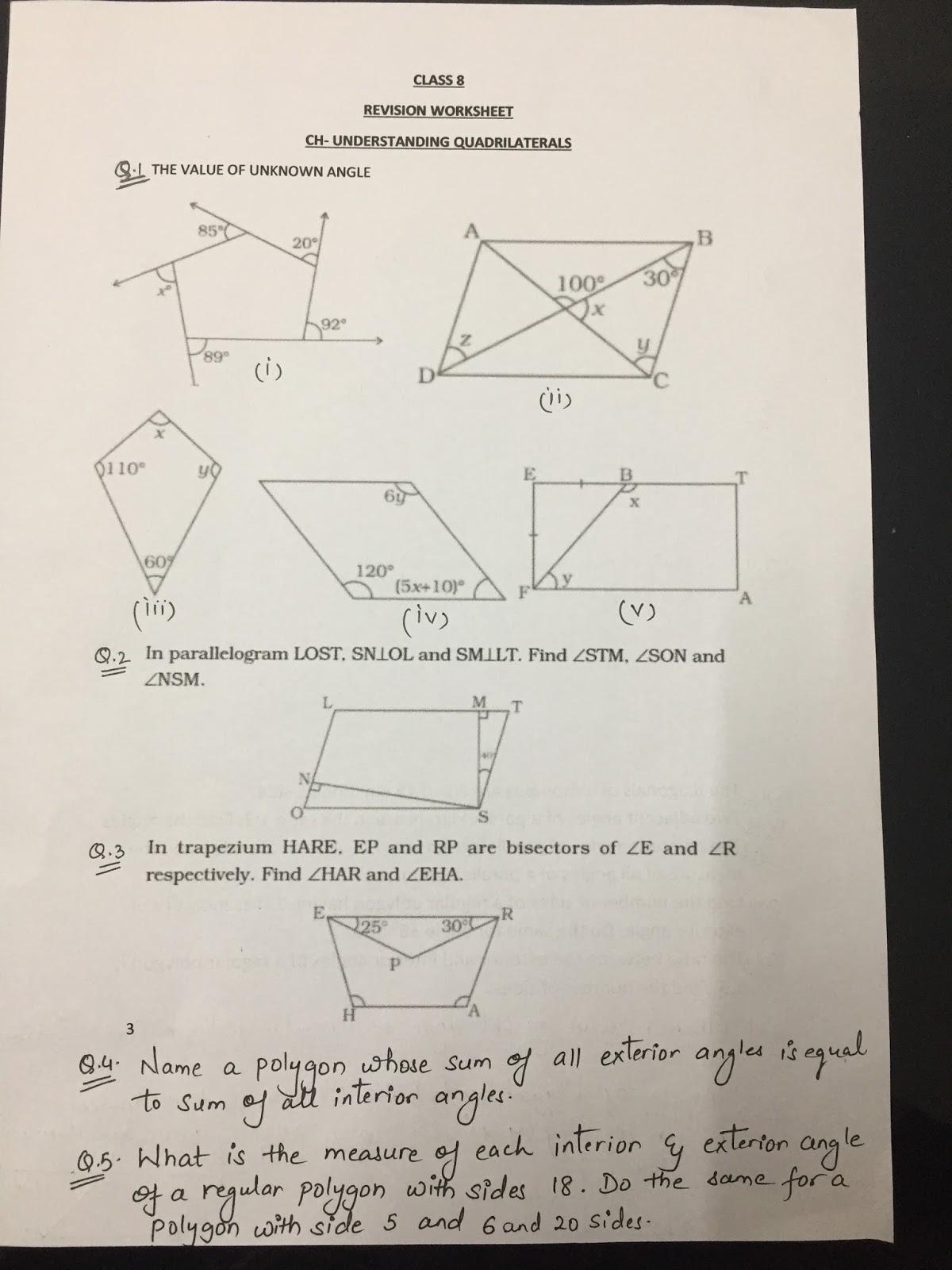 CLASS 8 / MATHS / REVISION WORKSHEET 4 (UNDERSTANDING QUADRILATERAL)