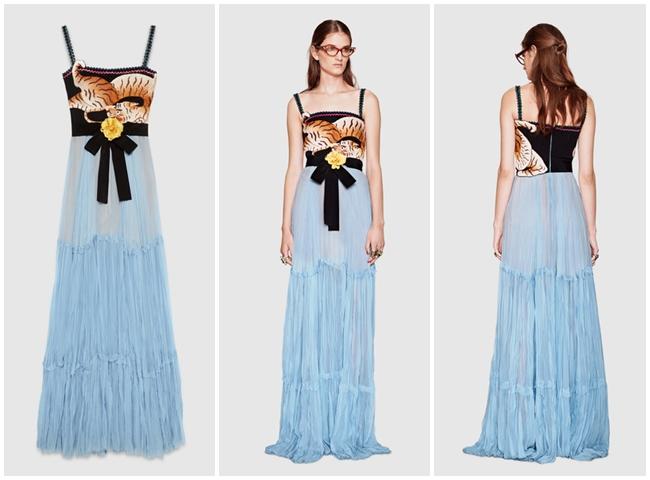 Gucci老虎刺繡宮女洋裝