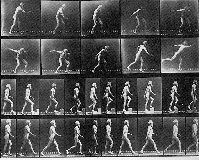 Eadweard Muybridge: sequences of himself throwing a disc, using a step and walking (circa 1893)