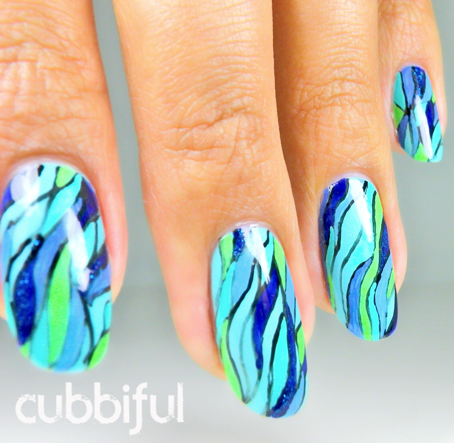 abstract blue nails